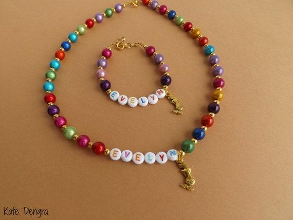 Mermaid Name Necklace and Bracelet Set