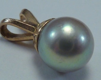 14K Yellow Gold Grey/Light Blue Solitaire Pearl Pendant