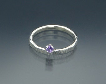 Tiny Amethyst Gemstone Ring - Pinky Ring - February Birthstone Ring - Teen Ring - Prom Ring - Handmade in USA by Me - FREE Shipping