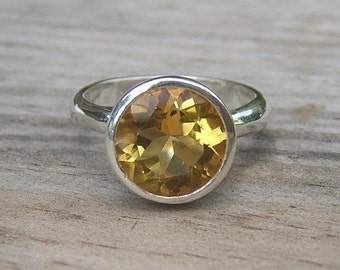 Big Golden Citrine Ring, Gemstone Ring in Eco Friendly Sterling Silver Ring, Handmade Yellow November Birthstone Solitaire