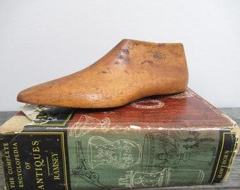 Vintage Shoe Last, Wooden Shoe Form, Industrial Desk Decor, Photography Prop, Book Shelf Decor