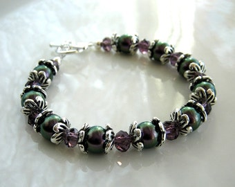 Crystal and Purple Pearl Bracelet made with Swarovski Crystal Elements Pearls