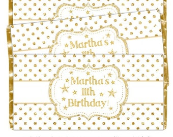 Twinkle Star Birthday Candy Wrappers, fit over 1.55 oz chocolate bars, Star Birthday Party, White and Gold