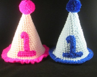 Birthday Party Handmade Crocheted Hats for Babies/Toddler Birthday Hat/Children's Birthday Hat / Cake Smash Photo Prop/Party Hat Favor