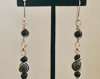 Sterling Silver, Black and White Swirl, Long Dangle Earrings