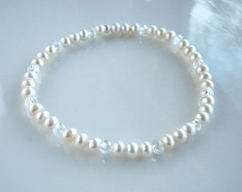Dainty Crystal and White Freshwater Pearl Stretch Bracelet White Pearl Bridal Bracelet Pearl Stacking Bracelet