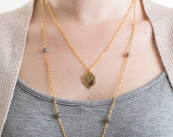 Gold Geometric Cube Necklace, Gold Necklace, Gold Layering Necklace