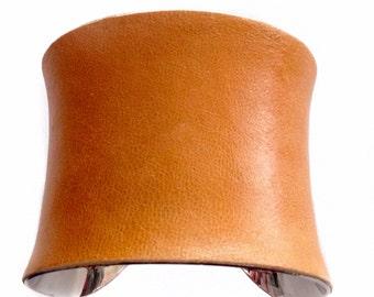 Soft Pumpkin Orange Leather Cuff Bracelet - by UNEARTHED