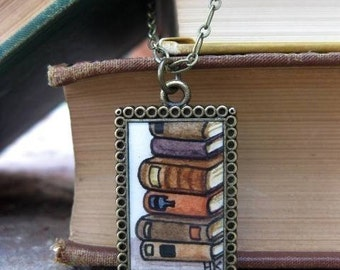 Stack of Old Books Hand Painted Necklace