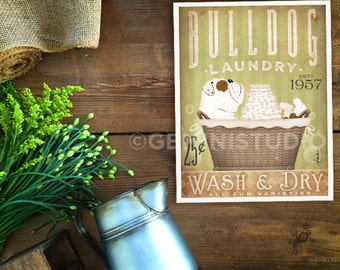 English Bulldog dog laundry basket company laundry room artwork signed artists print by stephen fowler geministudio