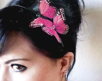 butterfly headband - bohemian accessory - butterfly accessories - bridesmaid headpiece - pink butterfly headband - women's gift - PANDORA