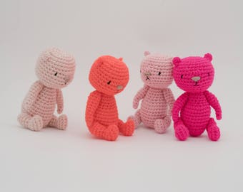 Miniature crochet pink bear