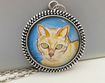 Cat Necklace- Custom Cat Portrait- Personalized Cat Necklace- Cat Painting- Cat Memorial Necklace- Cat Jewelry- Cat Lover- Christmas Gifts
