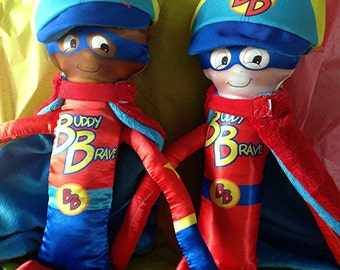 Boy doll for children with cancer, Buddy Brave  Super  Hero Doll, Bee Brave Buddies for Cancer Gift, Chemotherapy doll, radiation,