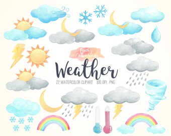 BUY 2 GET 1 FREE Watercolor Weather Clip Art - sun moon clouds rain snow lightning rainbow clipart & illustration  - Commercial Use Ok