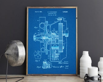 Supercharger, Car Engine, Patent Art, Patent Prints, Patent Posters, Blueprints, Automotive Art, Automotive Decor, Garage Art, Garage Decor
