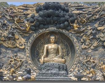 Buddha Mural Print, Single Panel Canvas, Buddha Wall Art, Zen Decor, Buddha Wall Decor, Meditation Art, Buddha Canvas, Yoga Studio Decor