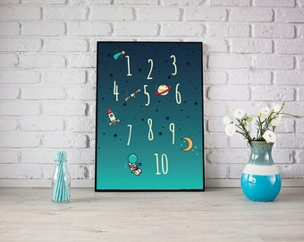 Outer Space Numbers Moon Stars Planets Spaceship Kids Room Wall Art Nursery Print