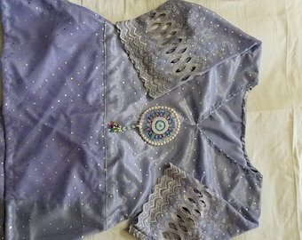 Handmade Beading Casual Purple Shirt