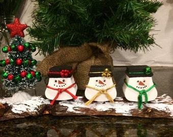 Rustic Hand Painted Snowman, Snowman holiday decor, Christmas snowman mantle decor, repurposed oak snowman and cedar log