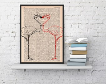 Flamingos in love  Bird Print on Vintage Dictionary Book altered art dictionary page illustration book print ANI175