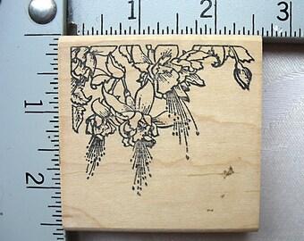 Love You to Bits Hanging Fuchsia Corner DESTASH Rubber Stamp, hanging fuchsias rubber stamp, fuchsia basket stamp