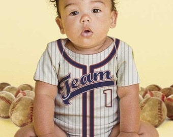 Baby Baseball Bodysuit, Personalized Baseball Jersey, Infant Onepiece Jersey, Any Team Name and Colors, Baby Boy Clothing