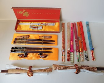 14  Pairs of  Porcelain and Wooden Chopsticks and Rests