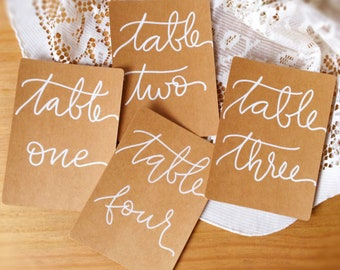 Kraft table numbers, modern calligraphy wedding, rustic wedding decor, white on kraft card