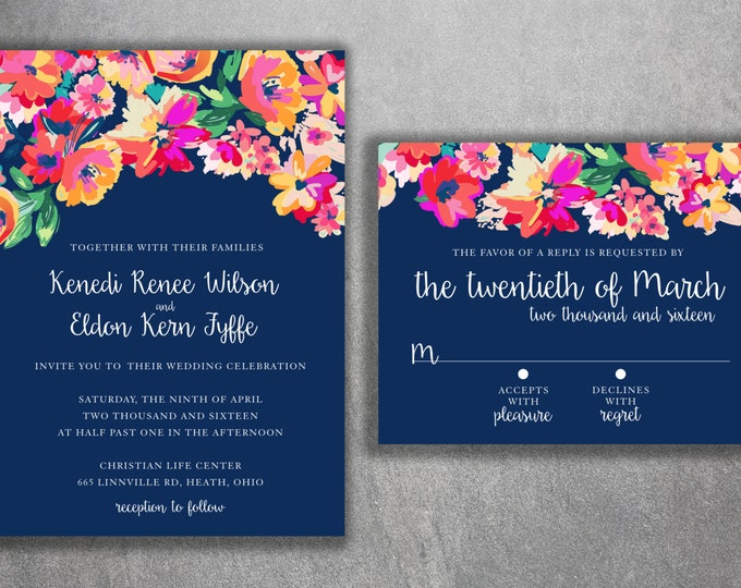 Floral Wedding Invitations Set Printed - Country Floral Wedding Invitations, Vintage, Floral, Country, Water Color, Flowers, Affordable
