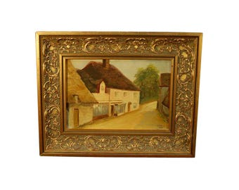 Enchanted English Village Thatch Roof Impressionist Oil Painting