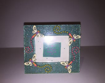 Blue Glittery Dragonfly Picture Frame