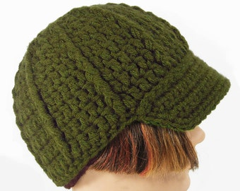 Green Handmade Beanie, Men or Women's Hat with Visor, Olive, Moss