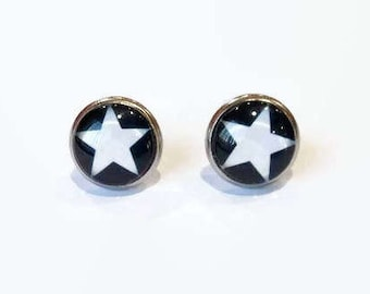 Star stud earrings, studs with a star, black star earrings, black white studs, hypoallergenic studs, 12mm studs, stainless steel studs