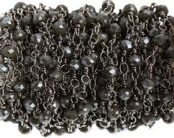 3 ft (1 yard) CHARCOAL GREY Crystal Rosary Bead Chain, gunmetal double wrapped wire, 4mm faceted rondelle glass beads, fch0690a