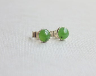 Small 5mm round green nephrite jade gemstone studs sterling silver earrings