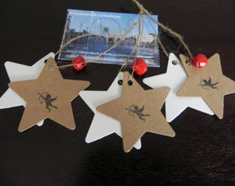 3 + 3 labels cardstock shaped like stars decorated with an Angel