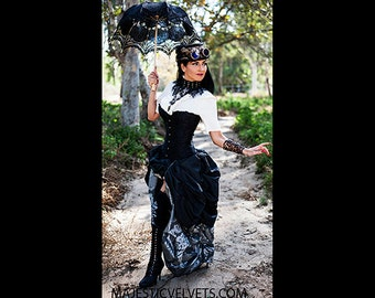 Ready to ship 3 PC Black SATIN Corset with Silver Long & Short Black Double Bustle Skirt, Steampunk, Victorian, Cosplay, Costume, Dress