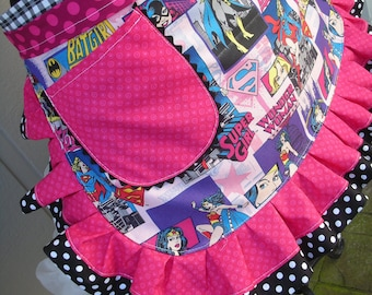 Wonder Women Pink Aprons - Wonder Woman - Bat Girl - Super Girl Half Aprons - Superwomen Hero Aprons - Annies Attic Aprons - Purple Aprons