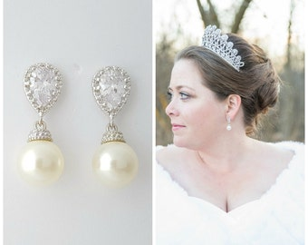 Pearl Bridal Earrings, Clip On Earrings, Bridal Jewelry, Crystal Wedding Earrings, Pearl CZ Earrings, Swarovski Pearls, Wedding Jewelry, Ava