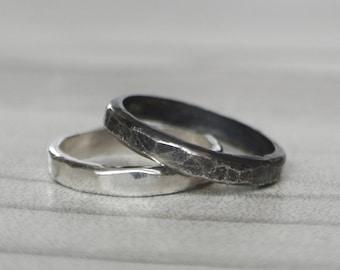 YIN/YANG massiv Sterling Silber handgeschmiedet minimalistische ring