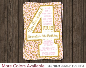 Pink and Gold 4th Birthday Invitation | Safari Fourth Birthday Invitations | Cheetah, Leopard, Wild