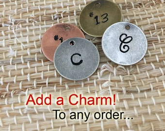 Add a charm to any item... Personalized initial or jersey number charm - add on item - 15 mm stamped disc charm