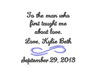 FATHER Of The BRIDE Handkerchief Hanky Hankie - To The Man Who First Taught Me About Love - FoB - Dad