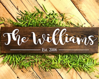 Family Name Established Sign, Last Name Sign, Custom Name Sign, Personalized Sign, Family Established Signs, Personalized Wedding Gifts