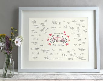 Tandem Bike Wedding Guest Book Alternative, Unique Wedding Guestbook Ideas, Bicycle Personalised Print Custom Poster Cyclists (unframed)