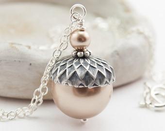 Acorn Necklace Pendant Necklace Sterling Silver Bronze Swarovski Pearls . Winter Wedding Bridesmaid Gift Autumn Wedding