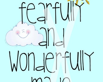 Fearfully and Wonderfully Made Psalm 139:14 8x10 Digital Print for nursery or children's room