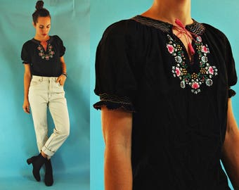 1970s / 80s Hungarian Floral Hand Embroidered Black Souvenir Peasant Blouse