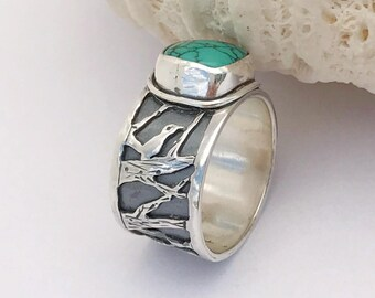 Sterling Silver Bird Ring, Hubei Turquoise Solitaire Ring, Artisan Ring Silversmith Statement Ring, Size 8 Wide Ring, Unique Bird Lover Gift